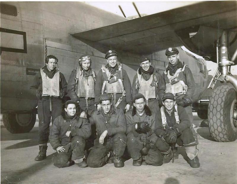 Crew #768 Earl H. Beitler/Neil Gobrecht Crew  Standing Left to Right:  Richard S.Lundberg (R/O), Russell K. Mason (FE), Earl H. Beitler (P), John Perella (N), Neil M. Gobrecht (CP/P)  Kneeling Left to Right:  Gale Raymond (NG), Donald Sargeant (TG), Wilfred Smith (WG), Edward M. Smith (WG)  During this crew's combat tour, the pilot, Earl H. Beitler was promoted to 787th Bomb Squadron Operations Officer and Gobrecht took over as pilot.