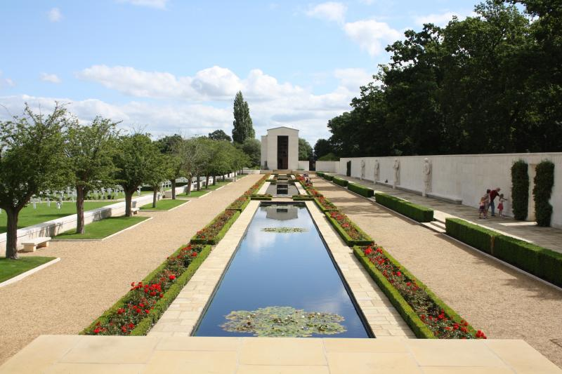 Reflecting pools, Tablets of the Missing & Memorial at Cambridge American Cemetery & Memorial, Madingley, Cambridgeshire, England.