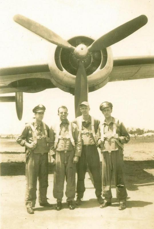Crew #754 Officers Francis L. Bell Crew 466th BG - 787th BS  Standing Left to Right:  Hennessee (B), Francis Bell (P), Elmore Cave (CP), Robert F. Lindenmuth (N)