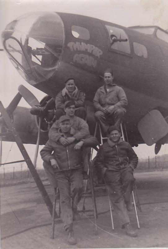 MSGT Alec Bourque, (lower right) ground crew chief of Thumper Again  with his ground crew. Other aircraft they crewed: Beats Me, and Aloha