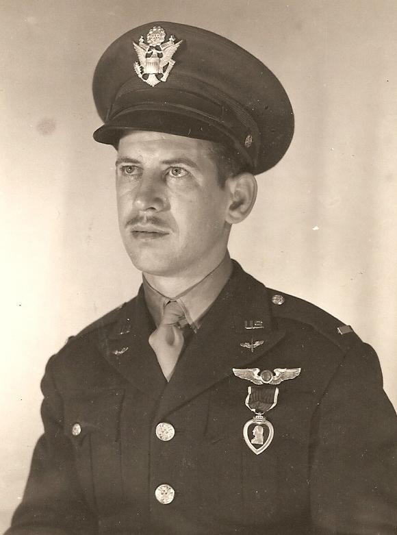 Lt Ewart Theodore Sconiers (with Purple Heart for wounds sustained on the 21 August 1942 mission to Rotterdam)