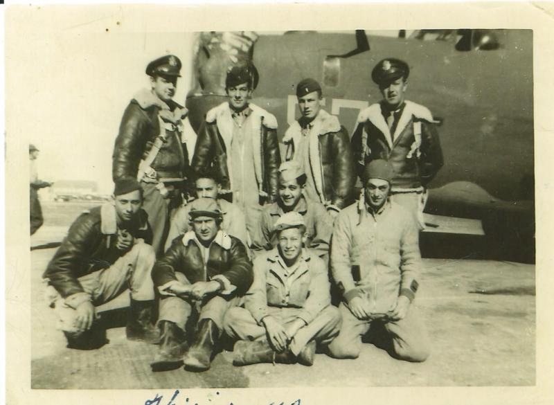 Crew #519 John C. MacDonald Crew  Back Row Left to Right:  John C. MacDonald (P), James D. Mullins (N), Carl E. Bailey (B), Gordon Sinclair (CP)  Middle Row Left to Right:  Chauncey Cheek (LWG), Otto M. Kaushup (R/O). Earnest Akens (TG), P.W. Davis (NG)  Front Row Left to Right:  William R. Kent (FE), Burnis Copley (RWG)  This crew was shot down on 11 May 1944.  All aboard that day were KIA.  Of those in the photo, Sinclair, Cheek and Davis were NOT aboard.  They were replaced that day by James H. Johnson (CP), James A. Paulos (BTG) and John F. Gordon (LWG).  Also aboard and KIA was William R. Dwyer (PN)