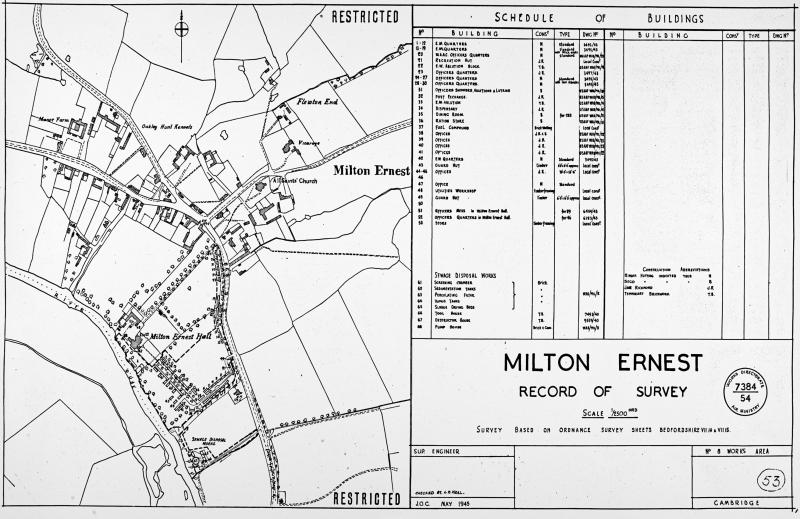 Official Air Ministry Record Site Plan- 1954. Milton Ernest.