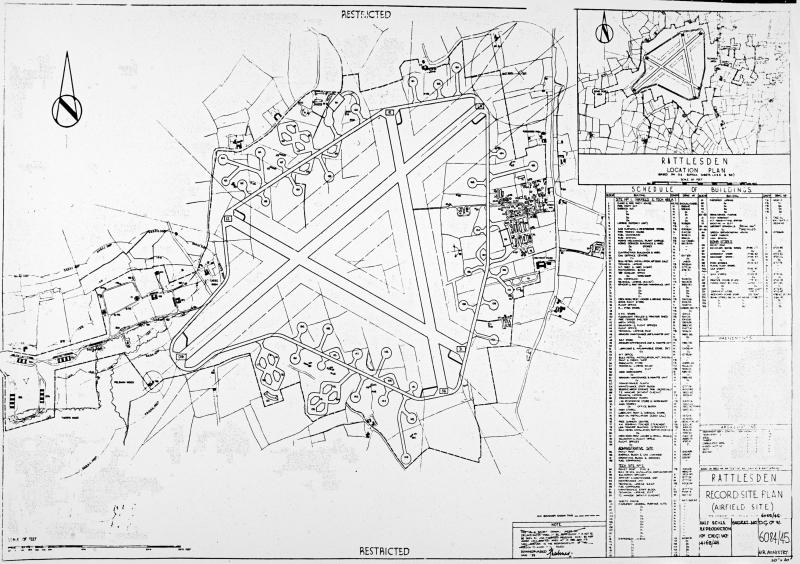 Official Air Ministry Record Site Plan-Airfield Site 1945. Rattlesden.