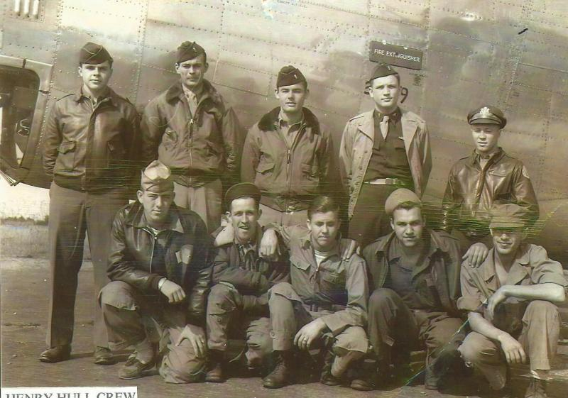Crew #748 Henry Hull/Lynn Thomas Crew 466th BG - 787th BS  Standing Left to Right:  Michael Medic (TG), Lynn E. Thomas (CP/P), Henry Hull (P), William Brown (N), Scott Milleran (B)  Kneeling Left to Right:  Henry Atwood (G), Charles Fletcher (R/O), Willis Butts (BTG), Walter Korth (FE), Jack Bullard (G)  Hull led this crew for it's first 14 combat missions at which time he transferred to the 784th BS to become a lead pilot and lead two other crews.  Thomas took over and lead this crew for it's final 21 combat missions.