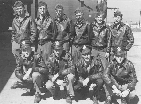 Charles Quirk Crew 458th BG - 755th BS Standing: Charles Hillis (TTG), Gerald Miller (R/O), Perce Goewey (WG), Tom McQueen (FE), Don Swanson (BTG), Don Pierce (TG)  Kneeling: Dave Jelinek (B), Charles Quirk, (P), George Campbell (CP), Charles F. Gaine (N)  This crew was shot down on their 14th combat mission, 12 July 1944.  Hit by flak, they bailed out over Belgium