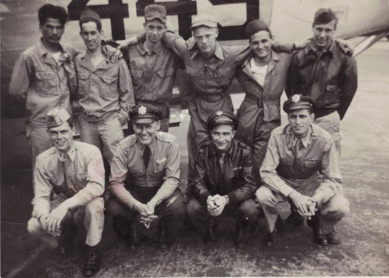 Crew #736 Archibald Williams Crew 466th BG - 787th BS  Standing Left to Right:  Aurelio Florida (G), H. Burton (G), George Goodhand (TG), E. Baranski (G), Phillip Hudson (FE), Joseph Z. Mazur (R/O)  Kneeling Left to Right:  Ernest H. Vickers (CP), Edward Stutzman (N), Leroy F. Hurst (B), Archibald L. Williams (P)  Crew Roster:  Archibald Williams - Pilot Ernest H. Vickers - Co-Pilot Leroy F. Hurst - Bombardier Edward L. Stutzman - Navigator Philip Hudson - Flight Engineer Joseph Mazure - Radio Operator George Goodhand - Gunner  This crew flew 15 combat missions before being involved in a mid-air collision on a practice mission, 16 September 1944.  All of the men listed above were KIA in this incident.  Additionally the 787th BS commander, John O. Cockey, was aboard their aircraft and was also KIA.