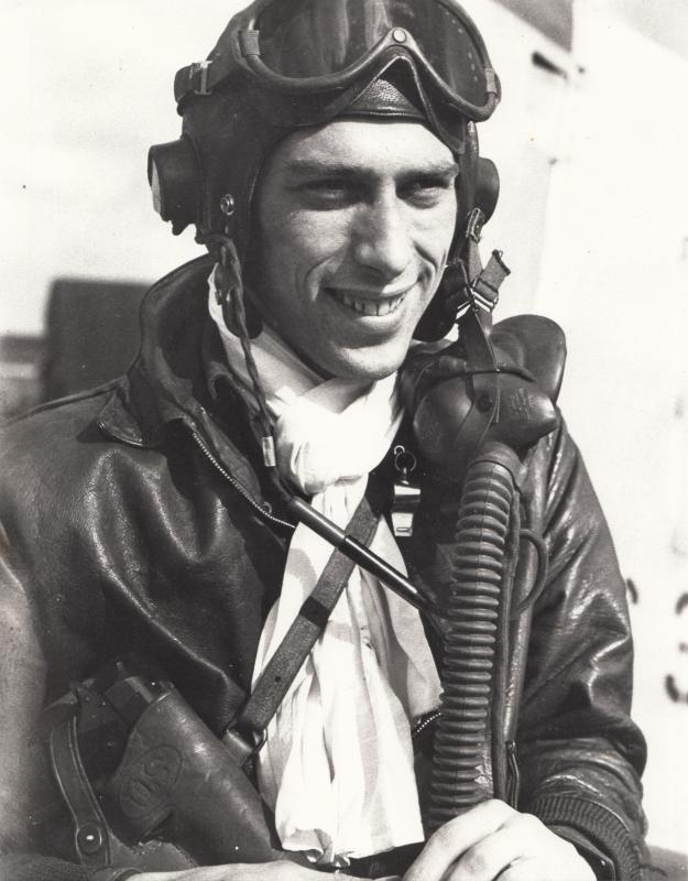 Major George Rew, Operations Officer of the 374th Fighter Squadron, 361st Fighter Group; later commanded the 374th Squadron. Little Walden, Essex. Museum object reference no. BAM_0290