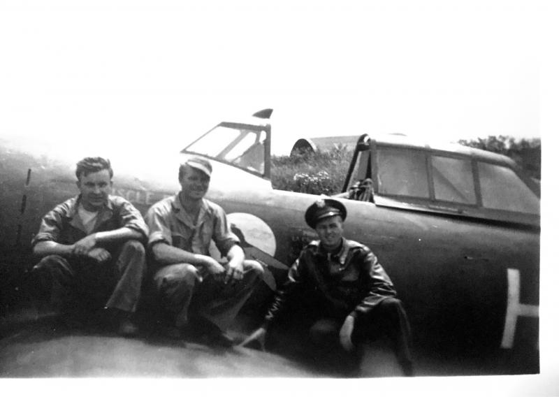 Crew on wing of Muscle Bound