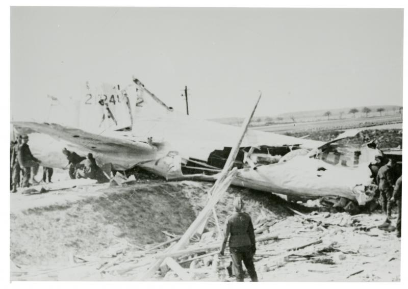 B-17G 42-102482 from the 339th Squadron of the 96th BG - crash-landed at Fummelse, Germany due to extensive damage from fighter attacks during mission to Berlin/Brunswick - 08 May 1944;  from the files of the Wolfenbuttel, Germany newspaper