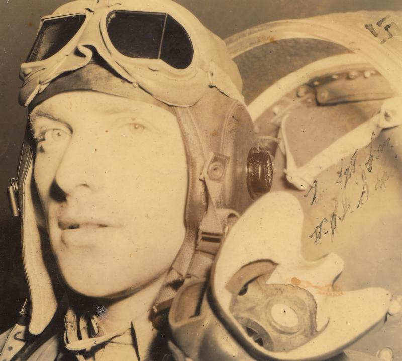 Lt. James D. Smith of the 376th Fighter Squadron, 361st Fighter Group. June/ July 1944. Museum object reference no. BAM_0369