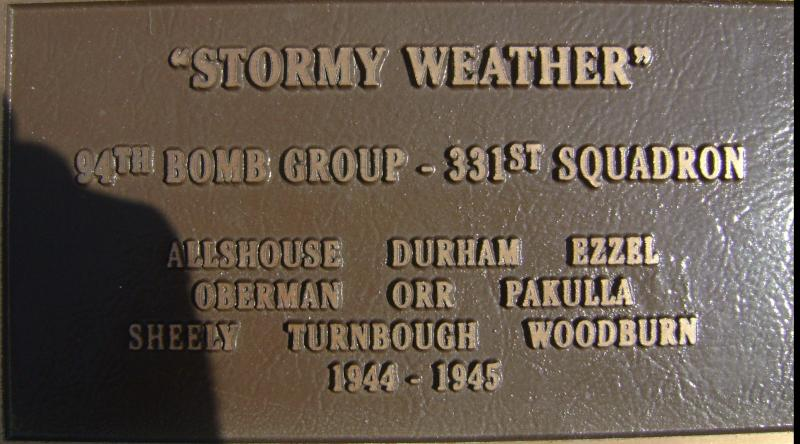 Stormy Weather plaque on the Rougham Control Tower Museum memorial.
