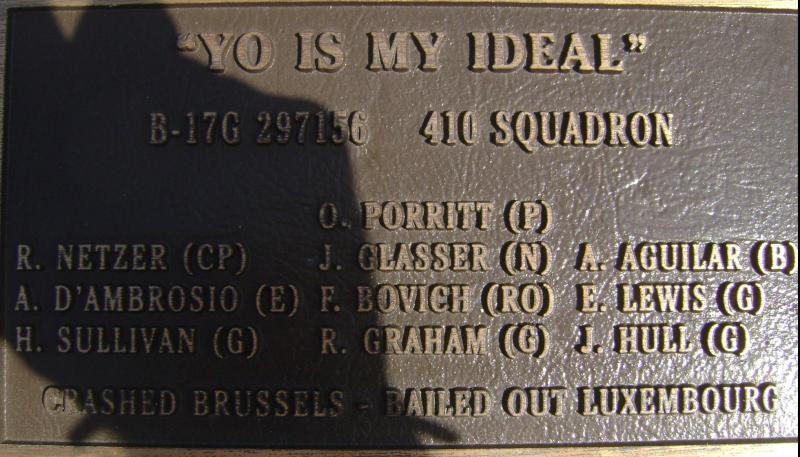 Yo Is My Ideal, 42-97156. Rougham Control Tower Museum memorial plaques.