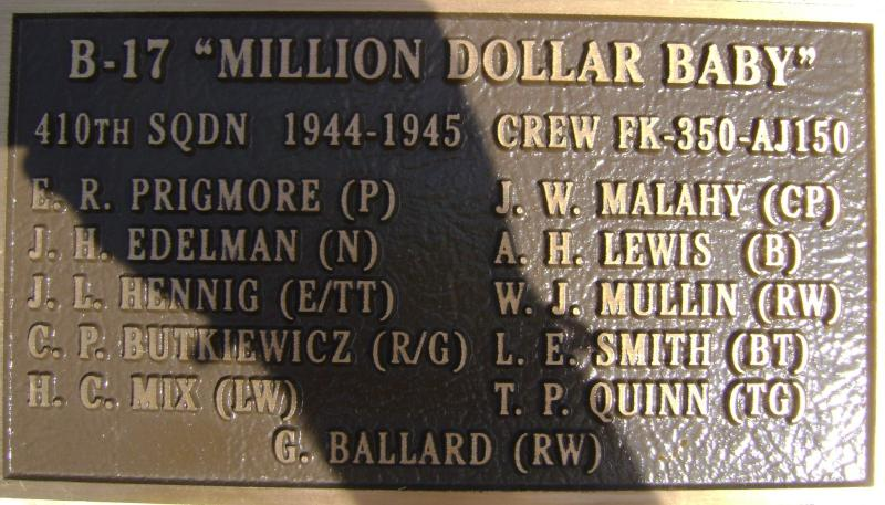 Million Dollar Baby plaque at the Rougham Control Tower Museum memorial. B17 42-97268