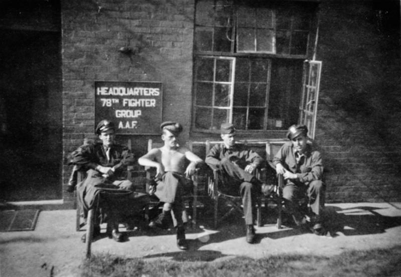 Pilots of the 82nd Fighter Squadron, 78th Fighter Group at Duxford in the summer of 1944, outside what is now Duxford's Battle of Britain exhibition. From left to right, Troy Eggleston, Roland Wolfe, Winfield Brown and Larry Nelson. Eggleston was killed later that year.  IWM Photo HU 319371