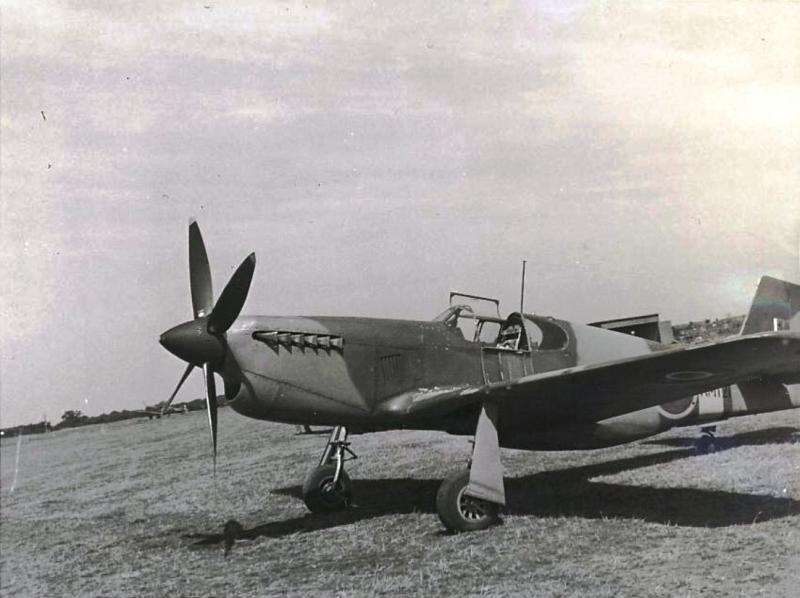 'First P-51 Flown by Leroy Gover' - AM121 was a Mustang Mk X, a two stage Merlin 61 engined Mk 1 conversion, works carried out by Rolls-Royce Flight Test Establishment.  AM121: This aircraft arrived at the Rolls-Royce Flight Test Establishment at Hucknall on 7 June 1942 and was the first to be delivered but the last to be converted. A broader chord fin was installed but the aircraft was not slated for testing at Hucknall and instead was sent to RAF Duxford before being loaned to the 8th Fighter Command USAAF at Bovingdon along with AL963.