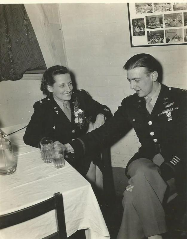 Colonel William Cleveland (466th BG C.O.) with unknown WAAC LT.