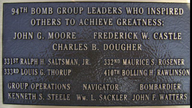 Tribute plaque to 94th Bomb Group leaders. On the memorial at the Rougham Control Tower Museum.