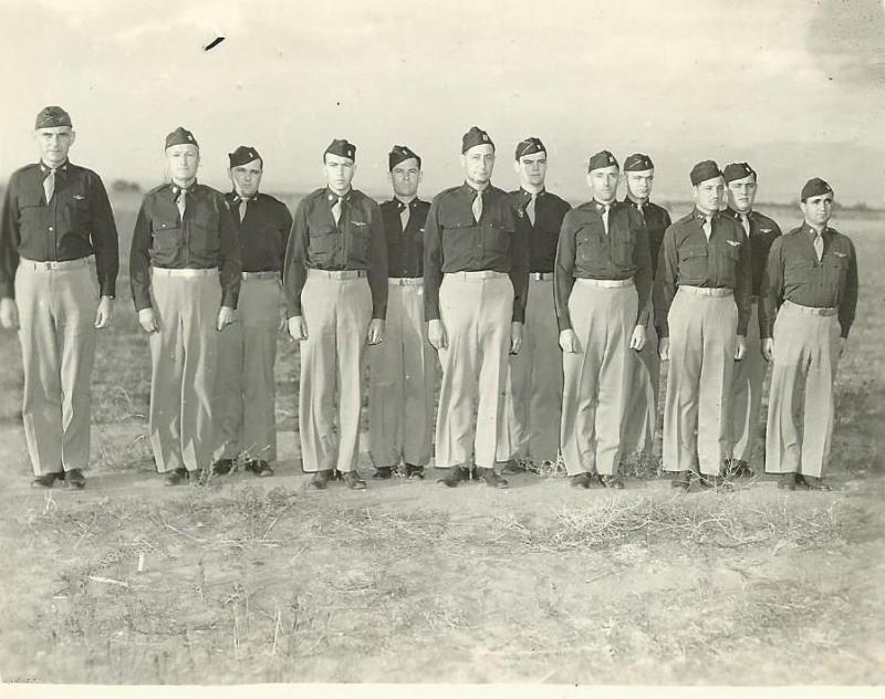 The original cadre of officers for 466th BG - HQ.   Kearns AAF, Utah - 27 October 1943  From Left to Right:  Colonel Walter G. Bryte (466CO), LTC William N. Briscoe (466EXEC), 1LT John A. Michael (466 Comm Officer), Major Walter A. Smith (466 Air Inspector), 2LT Guy W. Bowman (466 ARM Officer), CPT Josiah Child (S-2), 2LT William Gorden (Stats Officer), CPT Oliver A. Shaw (Group Navigator), 2LT Donald Revelle (Mess Officer), 1LT Albert N. Elmet (Group Bombardier)  Of this group only Bowman, Child, Shaw and Michael would deploy to England with the 466th BG