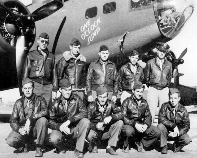 B-17F 'One O'Clock Jump' 41-24582 VK-G William W Frost Crew - 358th BS, 303rd BG, 8AF USAAF.