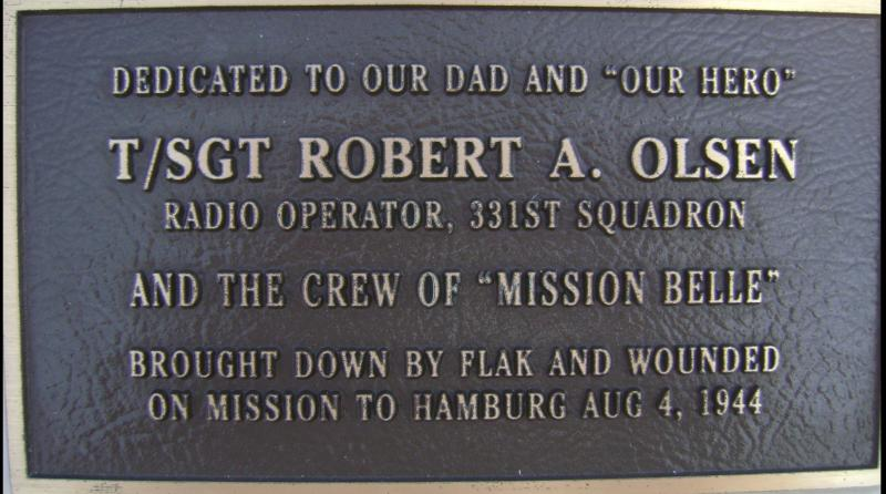Robert A Olsen plaque on the memorial at the Rougham Control Tower Museum.
