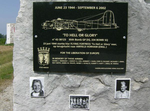 Memorial dedicated to the airmen lost on B-17 42-38123 'To Hell or Glory' 344BS, 95BG, 8AF USAAF.  The memorial is at OUTER, Belgium and was the project of the Patriotic Association of Haaltert in cooperation with the municipality of the city of NINOVE, Belgium and erected with support from the crew members Dick ENNIS, Henry SCHULTZ and Rick and Marion MANGAN and family.