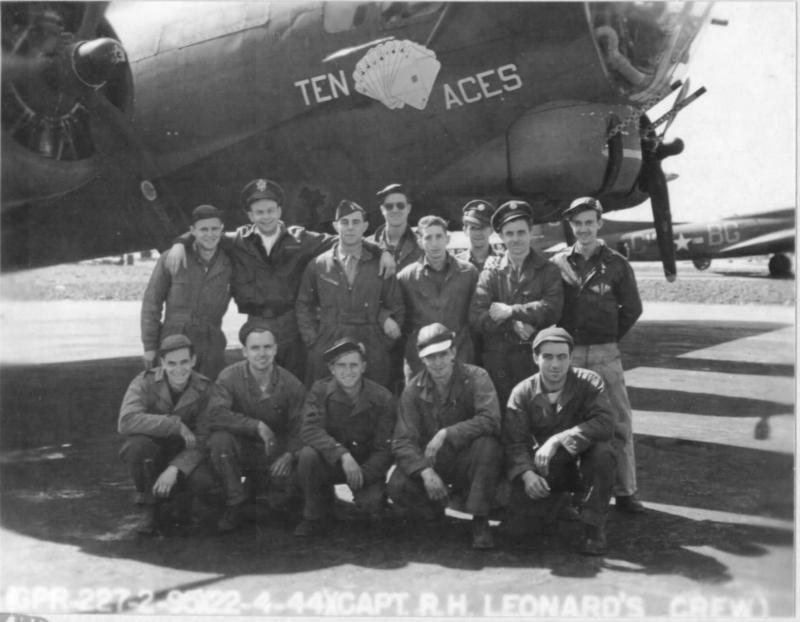 Capt. R.H. Leonard's crew of the 334BS, 95BG, 8th AF standing by their B-17 42-38178