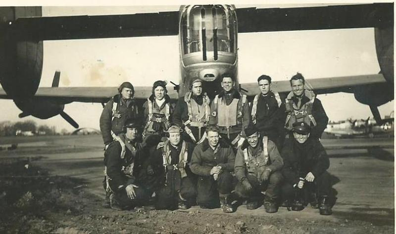 Crew #663/486 George F. Maxton Crew 466th BG - 786th and 784th Bomb Squadrons  Standing Left to Right:  Billy C. Newell (N), Robert W. Smith (PN), Stephen Weinrib (RN), George F. Maxton (P), Jack M. Bishop (B), Conrad E. Miller (CP)  Kneeling Left to Right:  Adolph M. Cummings (R/O), G.O. Wilson (G), Arnold B. Deiterman (G), J.E. Rich (FE)
