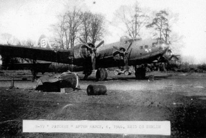 B-17F 42-30120 'Patches' 334th BS, 95th BG, 8AF USAAF - Pictured after the 6th March 1944 Berlin raid.