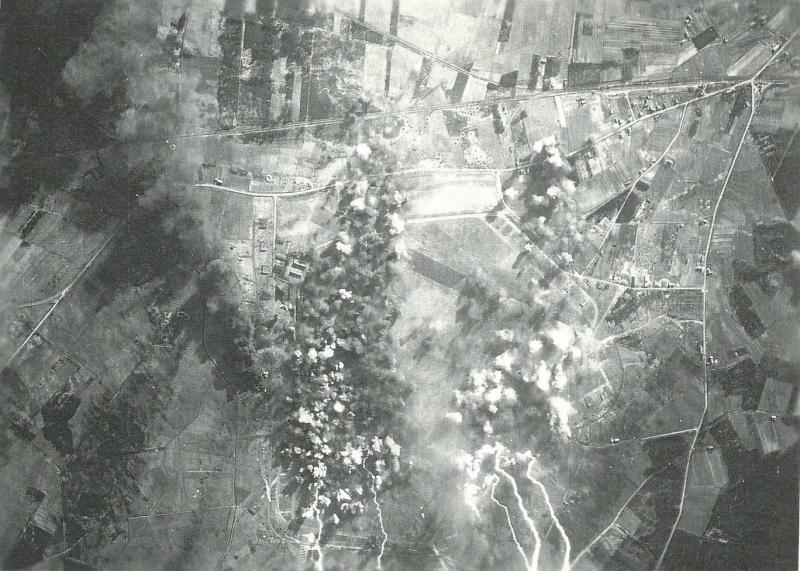 Strike Photo - Hesepe Airfield 21 March 1945 466th BG (see also Achmer Airfield strike photo, same mission)