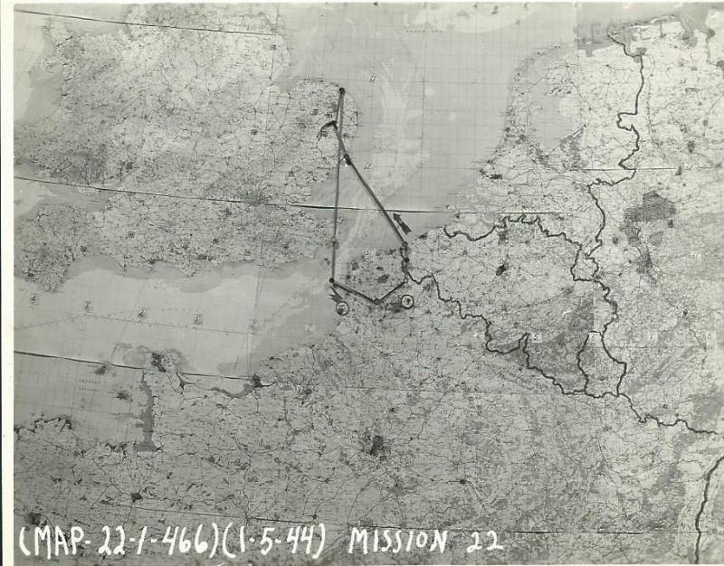 466th BG Mission Route Map 1 May 1944 - Maisoncelle, France - No Ball Targets  This was the first of two missions flown by the 466th BG on this date.  This mission took off at 0230.  Many 466th BG crews learning that multiple missions were scheduled for the day surmised that the invasion was starting.  The 466th BG got off without issue.  All returned.  No fighters, no flak were reported