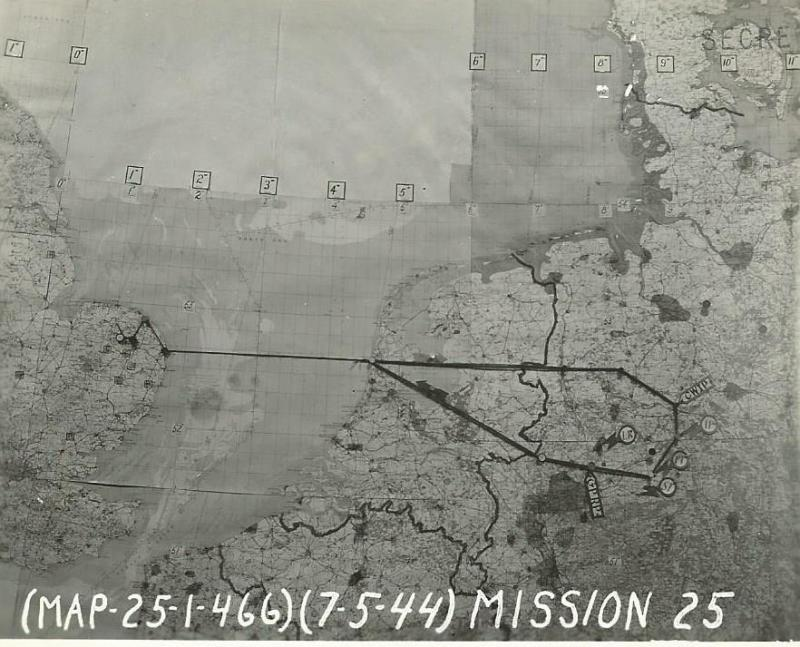 466th BG MIssion Route Map 7 May 1944 Osnabruck, Germany  Thirty 466th BG aircraft dropped 62 tons of bombs on the target