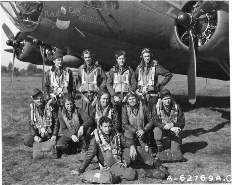 'Lt Donald H Frank and crew of the 401st Bomb Sqn., 91st Bomb Group, 8th Air Force, beside the Boeing B-17F
