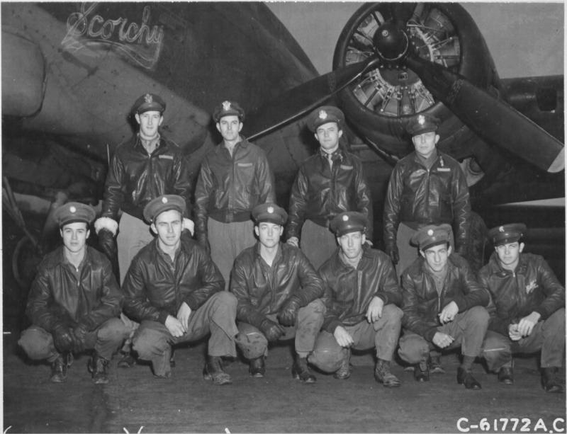 Lt. Richard K Marsh and crew of the 359th Bomb Squadron, 303rd Bomb Group, beside the Boeing B-17