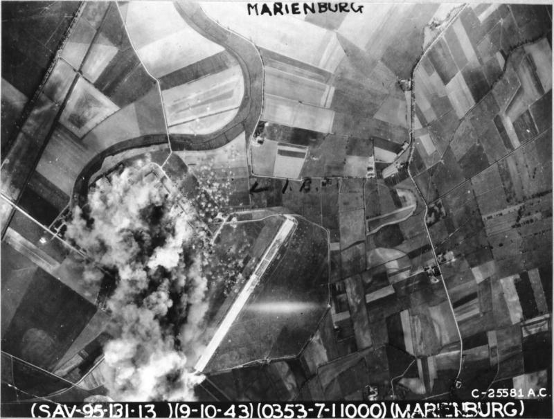 Reconnaissance view of the important plant soon after the raid, reveals that it has been entirely devastated. Assembly shops, hangars, and more than a score of smaller structures have been destroyed.  Photo from 42-30353