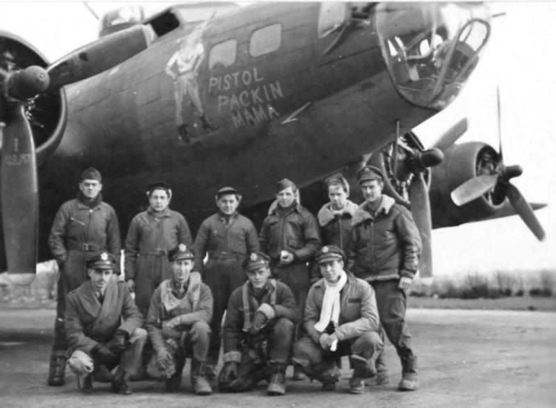 Lt. Wayne W Mcintyre's crew of the 8th AF 95th Bomb Group standing by their B-17F