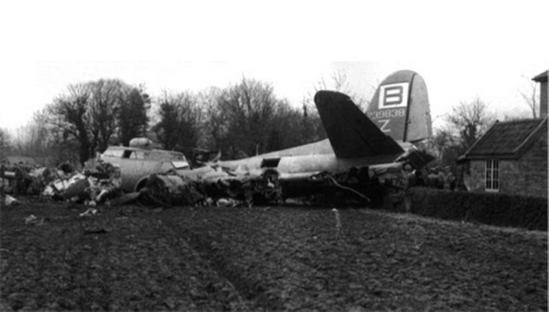 Flying Fortress B-17G 42-39838 335th BS, 95th BG, 8AF. Crashed at Prosect House, Wilby, Suffolk, 7/1/44.