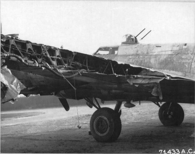 Damaged wing of the Boeing B-17