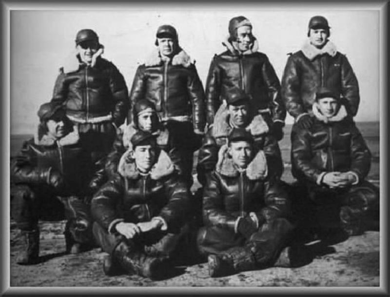 """MacKinnon aircrew - 412th Bomb Sqdn B-17F-65-BO """"Lonesome Polecat I"""" #42-29693 BACK ROW 1st Lt. Malcolm B. MacKinnon (pilot) F/O Eugene W. Wood (co-pilot) 2nd Lt. William H. Powell (navigator) 2nd Lt. Gerald J. Jenkins (bombardier) MIDDLE ROW T/Sgt Alexander A. Mareck (waist gunner) T/Sgt John J. Vail (radio operator) S/Sgt John F. Davoren (waist gunner) S/Sgt George Babich (top turret gunner) FRONT ROW S/Sgt Stanley D. Bennett (tail gunner) S/Sgt Lyle P. Blackridge (ball turret gunner).  This photo is believed to have been taken while the 95th Bomb Group was still in Rapid City, South Dakota.  The crew, as shown above, is not the crew that was flying in the Lonesome Polecat on June 11th, 1943, when it was shot down and all aboard were KIA.  Not with the crew that day were S/SGT Blackridge, 2LT Powell, and 2LT Jenkins."""