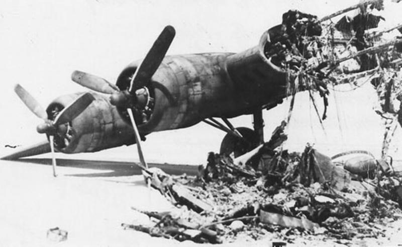 Flying Fortress B-17F 42-29737 'Louise' 412th BS, 95th BG, 8AF USAAF having been landed on the sand dunes of Amrum Island, Germany. A wheels down landing has been affected and aircraft destroyed prior to the crew being captured.