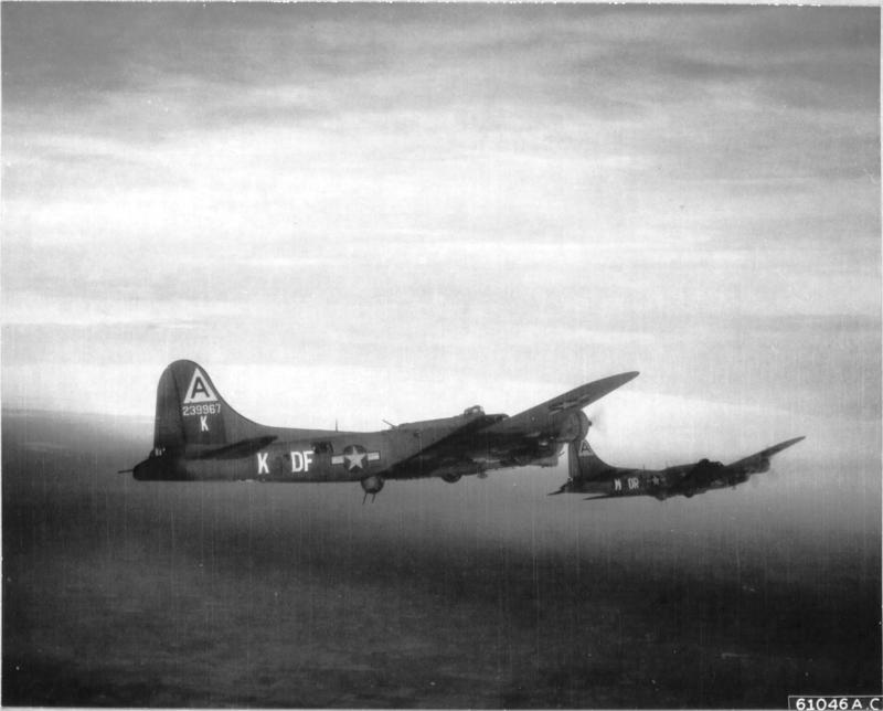 'Boeing B-17 Flying Fortresses of the 91st Bomb Group, 8th AF, are part of a formation en route towards target at Brunswick, Germany. 30 Jan. 1944. (Altitude 22,000 Feet)'.  NARA Ref 342-FH-3A19628-61046AC  30 January 1944: Two 91st BG crews start a turn enroute to Brunswick. 1st Lt  Ken Sutherland is flying a ship borrowed from the 324th Bomb Sq, B-17G 42-39967