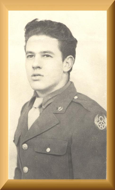 Victor H. Ellard at 20 years old.  He kept and wore this same perfectly fitting uniform at two Veteran's Day ceremonies in 2014 when he was 91.