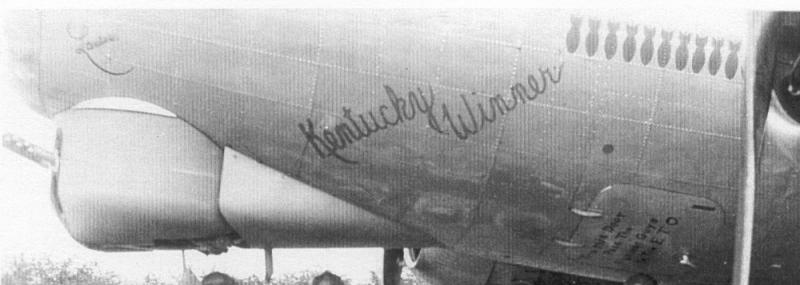 Kentucky Winner (42-102481) was flown only once on 18 Jan 1945 by Lester Wise, pilot, on a mission from Great Ashfield to Kaiserslautern.  He flew several different b-17s before and after that mission.