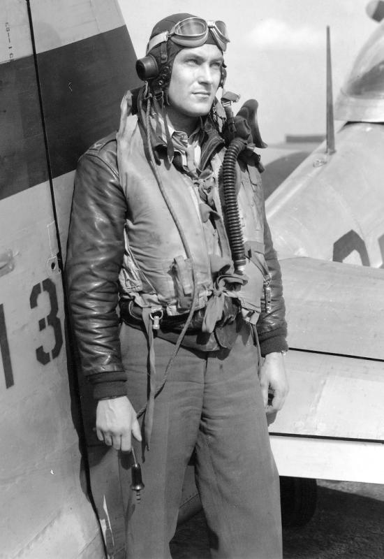 Don Blakeslee at the tail of his final P-51D 44-13779.