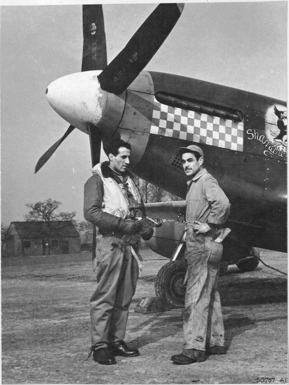 England-Capt. Gentile shown having a last minute word with his crew chief, S/Sgt. John L. Ferra, 28, of El Segundo, Caliofrnia, before take-off. Sgt. Ferra has been with Capt. Gentile for 16 months and believes the Capt. to be a