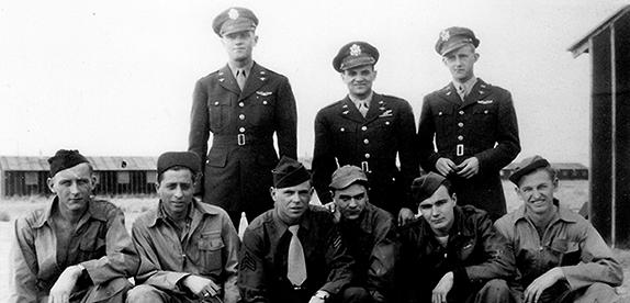 Milton K. Goodridge Crew 492nd BG - 856th BS  Standing Left to Right:  Milton K. Goodridge (P), Abraham Schonfeld (N), Earl Davis (CP)  Kneeling Left to Right:  Everette Bolte (G), Charles Ippolito (R/O), James Stuckey (G), John Stazen (G), Theodore Kossey (FE), Fairce Conner (G)  This crew was shot down on their 33rd mission.  The plane blew up over the Baltic Sea.  The only survivor was Goodridge who was blown clear by the explosion and rescued from the sea by the Germans.