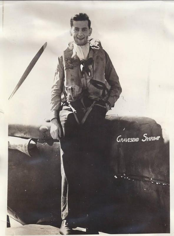 American fighter pilot Albert F Eckert in 1941 with his Spitfire, 'Gravesend Shrimp', one of over 20 presentation aircraft paid for by the people of the county of Kent.