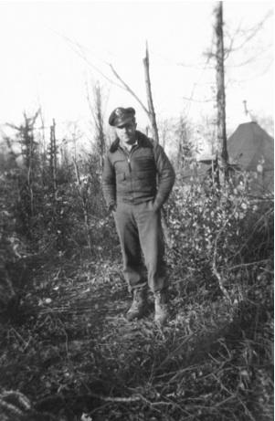Lt. Frank Burgmeier Laon/Athies Airfiled around December 16, 1944.  Lt. Foster took this photograph of his good friend and tent buddy,