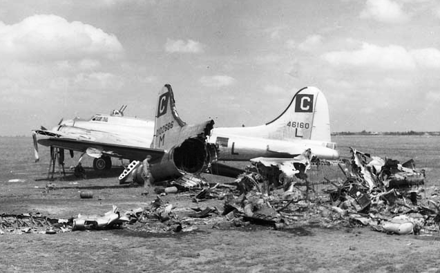 On the foreground, débris from B-17 # 42-102686 destroyed on the ground by a German attack on the Poltava airfield, Soviet Union, on 21 June 1944 (Official USAAF photo)