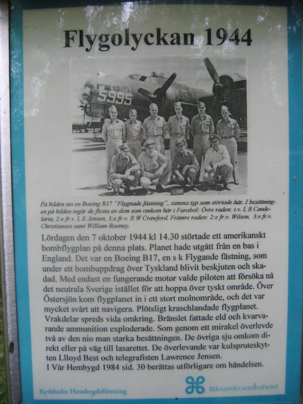 Information (in Swedish) at crash site memorial B-17, 42-31192 (YB-R), Farabol, Sweden. Oct 7th 1944. Picture shows some of the crew members:
